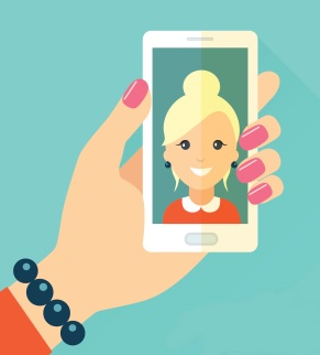 Selfie poster with woman holding smartphone vector illustration.